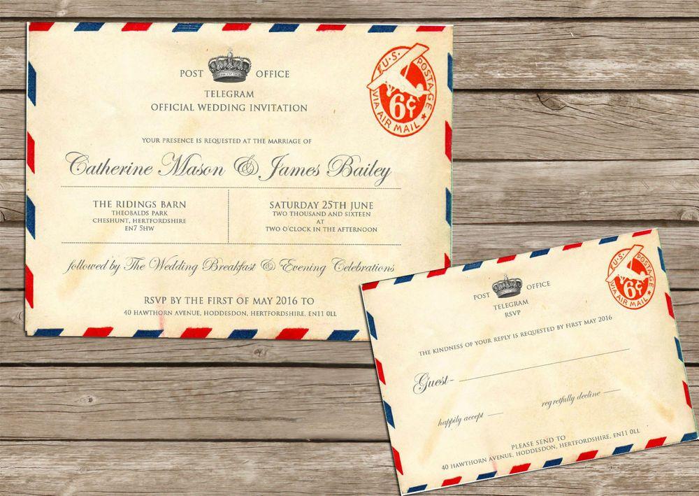 Personalised Vintage Airmail Telegram Wedding Invitations Packs Of