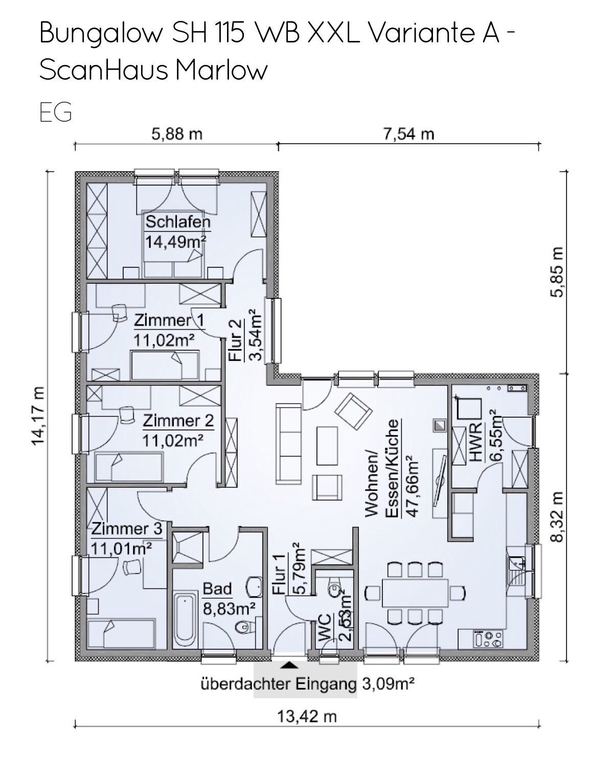Grundriss Bungalow 5 Zimmer mit Walmdach Architektur, 122