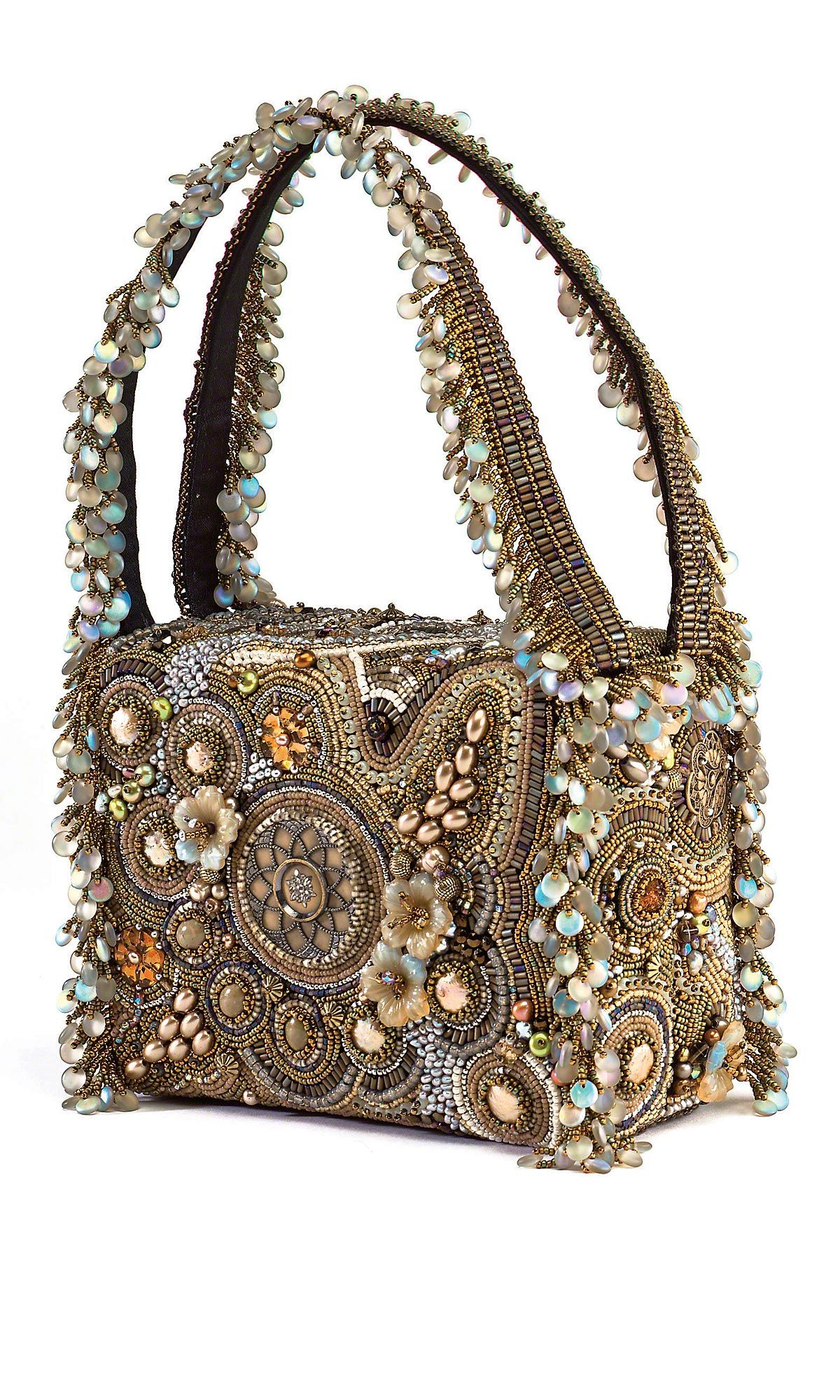 Jewelry Design - Purse with Seed Beads, Pearls and Gemstone ...