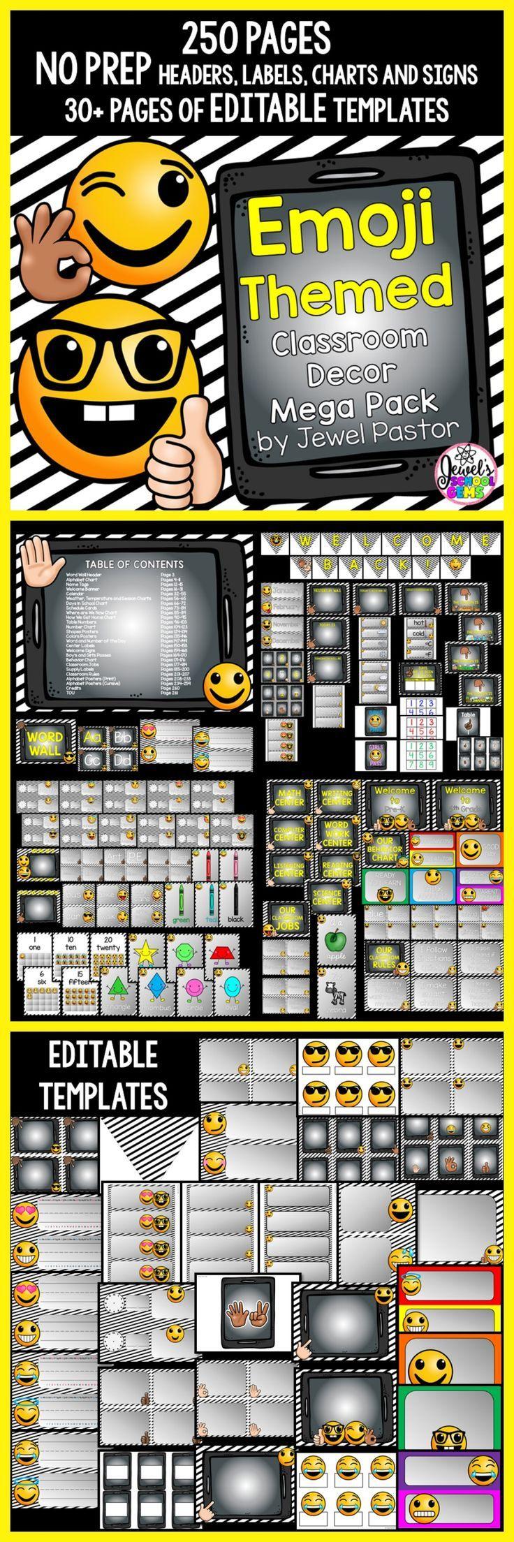 Classroom Decoration Emojis : Emoji theme classroom decor editable