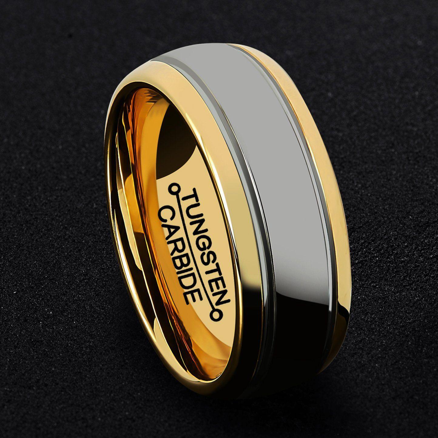 HSG Tungsten Rings for Men 18k Gold Plated Wedding Ring