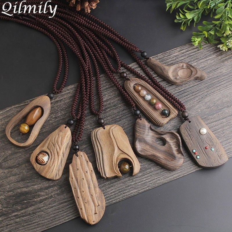 Photo of Qilmily Adjustable Vintage Sandalwood Natural Stone Pendant Necklace for Women Girl Long Sweater Chain Jewelry Gift Souvenir Hot – SHOP THE NATION