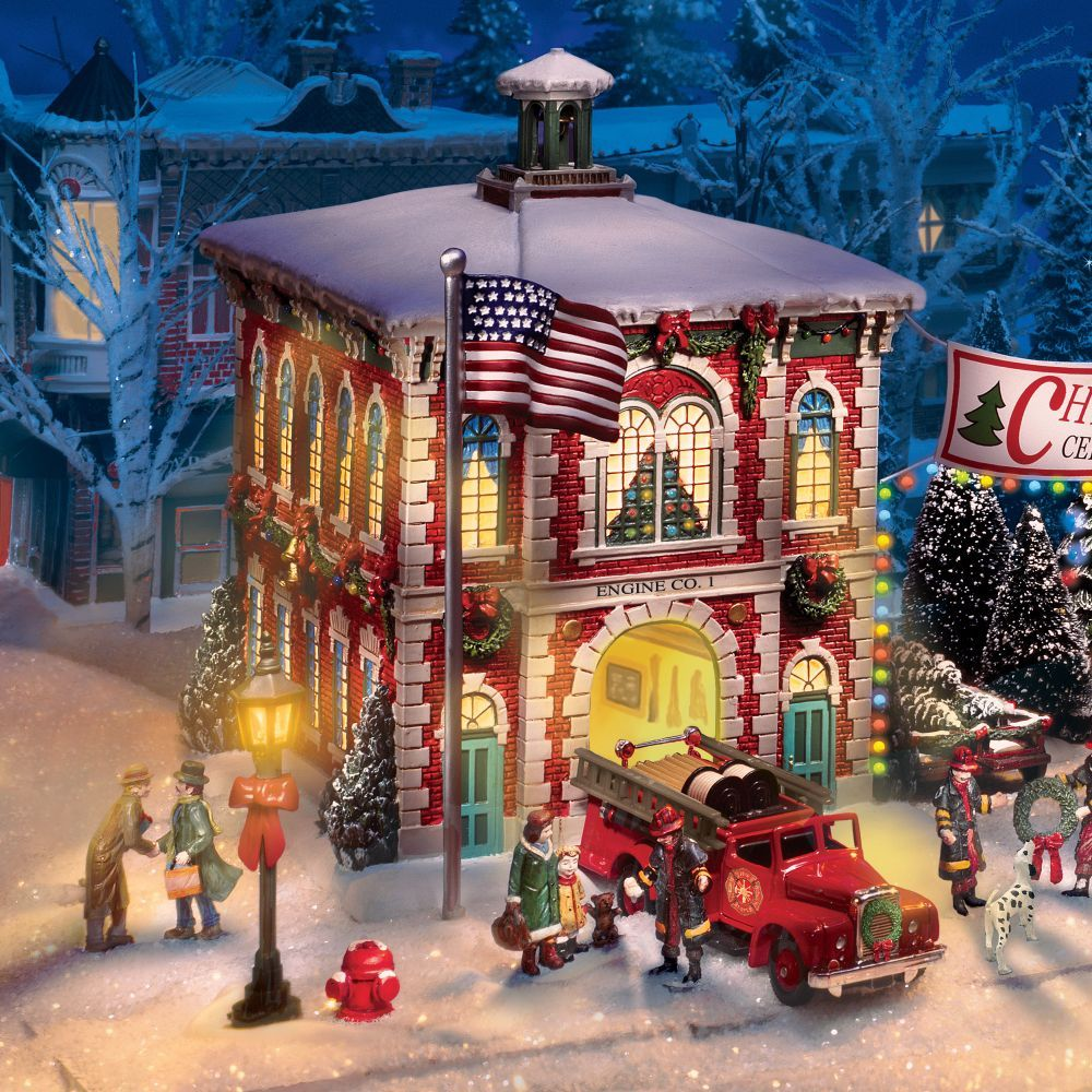 Christmas Village Houses to Paint | volunteer firefighters in ...