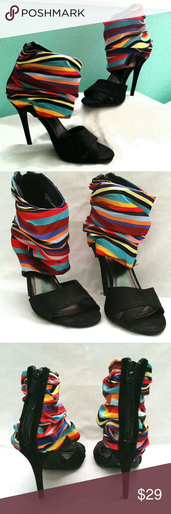 Multicolor Cuff Ankle Heels This multicolor Cuff heel makes it easy to match with any outfit. Super stylish and comfortable. There is a slight scuff on the insides of one of the heels but very minimal as shown in the picture. Also the bottom of one cuff has a stain but can he easily hidden by folding it under the cuff. Worn only a few times and still in great condition. Anne Michelle Shoes Heels