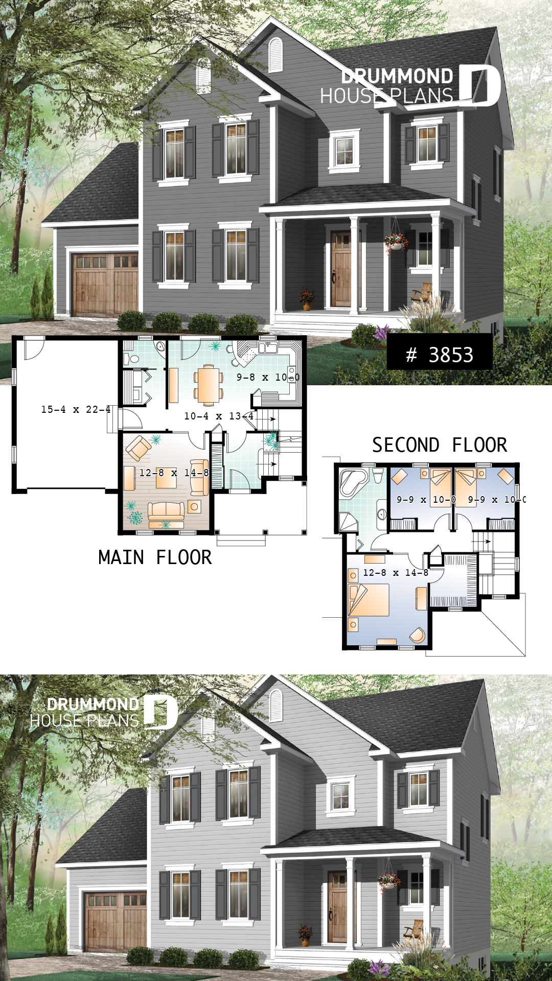 Small Simple Two Storey Home Three Bedrooms Large Kitchen Laundry Room On Ma Sims House Plans House Plans House Blueprints