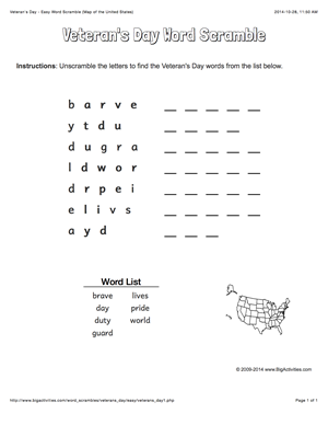 Veterans Day word scramble with a map of the United States 4