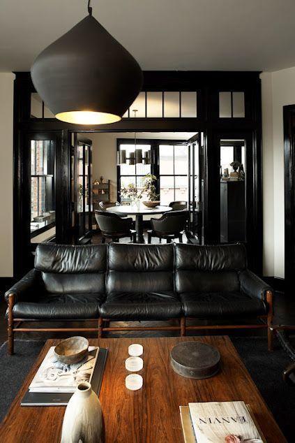 Black Leather Masculine Living Rooms Interior Design Interior