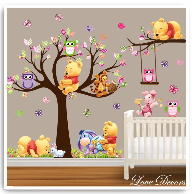 Winnie the pooh wall stickers owl animal nursery baby kids for Baby room decoration wall stickers