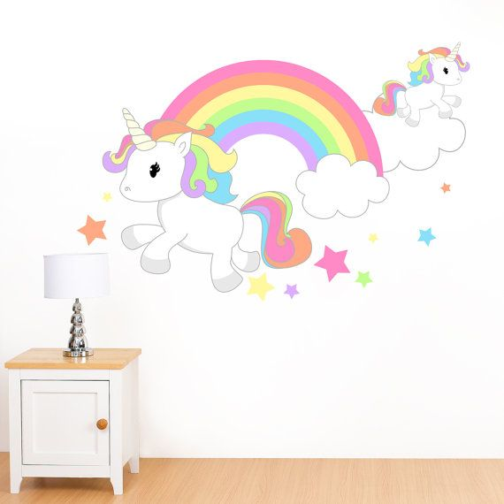 Rainbow unicorn stars mural wall sticker girl 39 s for Childrens wall mural stickers