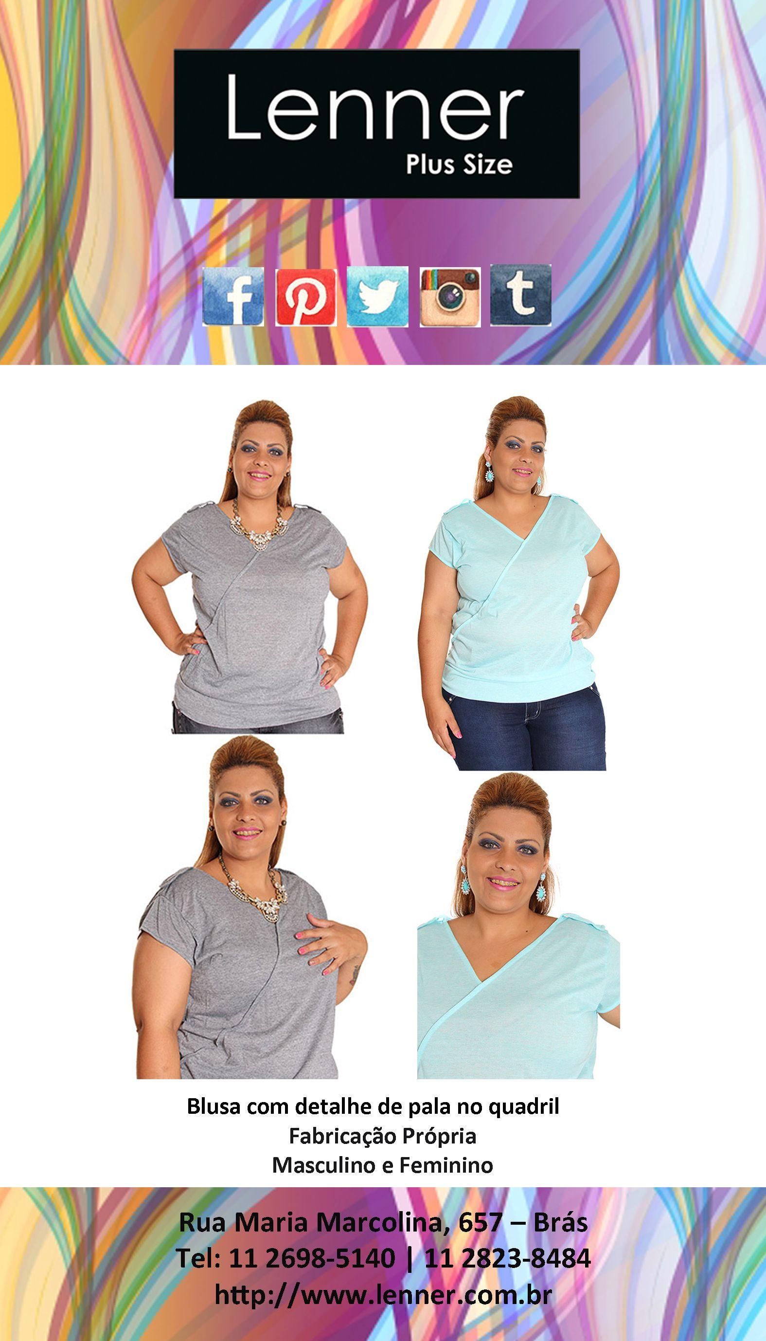Blusa com detalhe de pala no quadril, linda linda!!!! #Cinza #Azul #ÚltimasPeças
