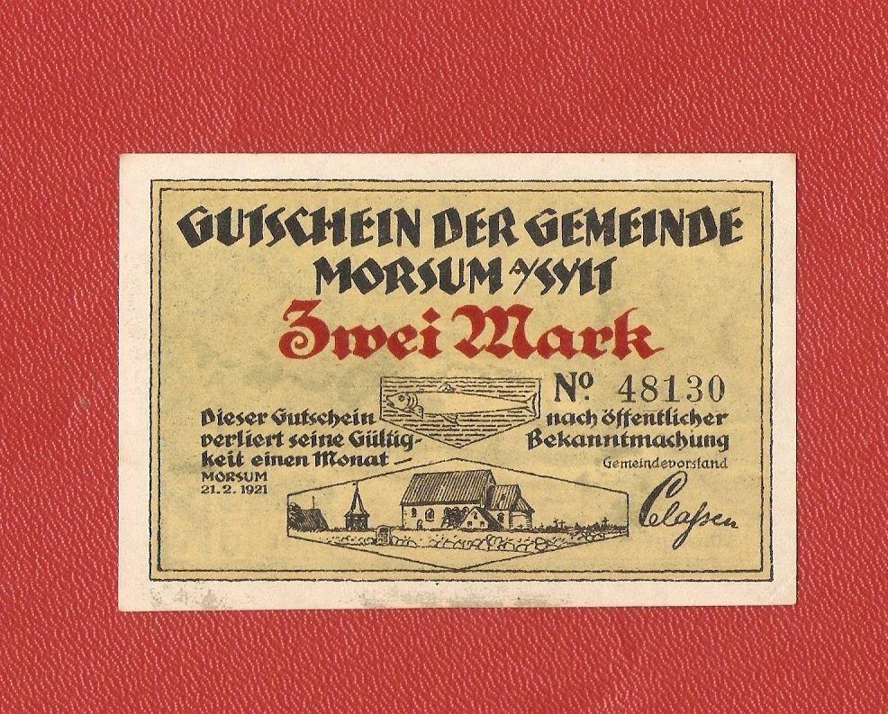 Germany Notgeld 2 mark 1921 Schleswig Holstein Morsum Sylt #26