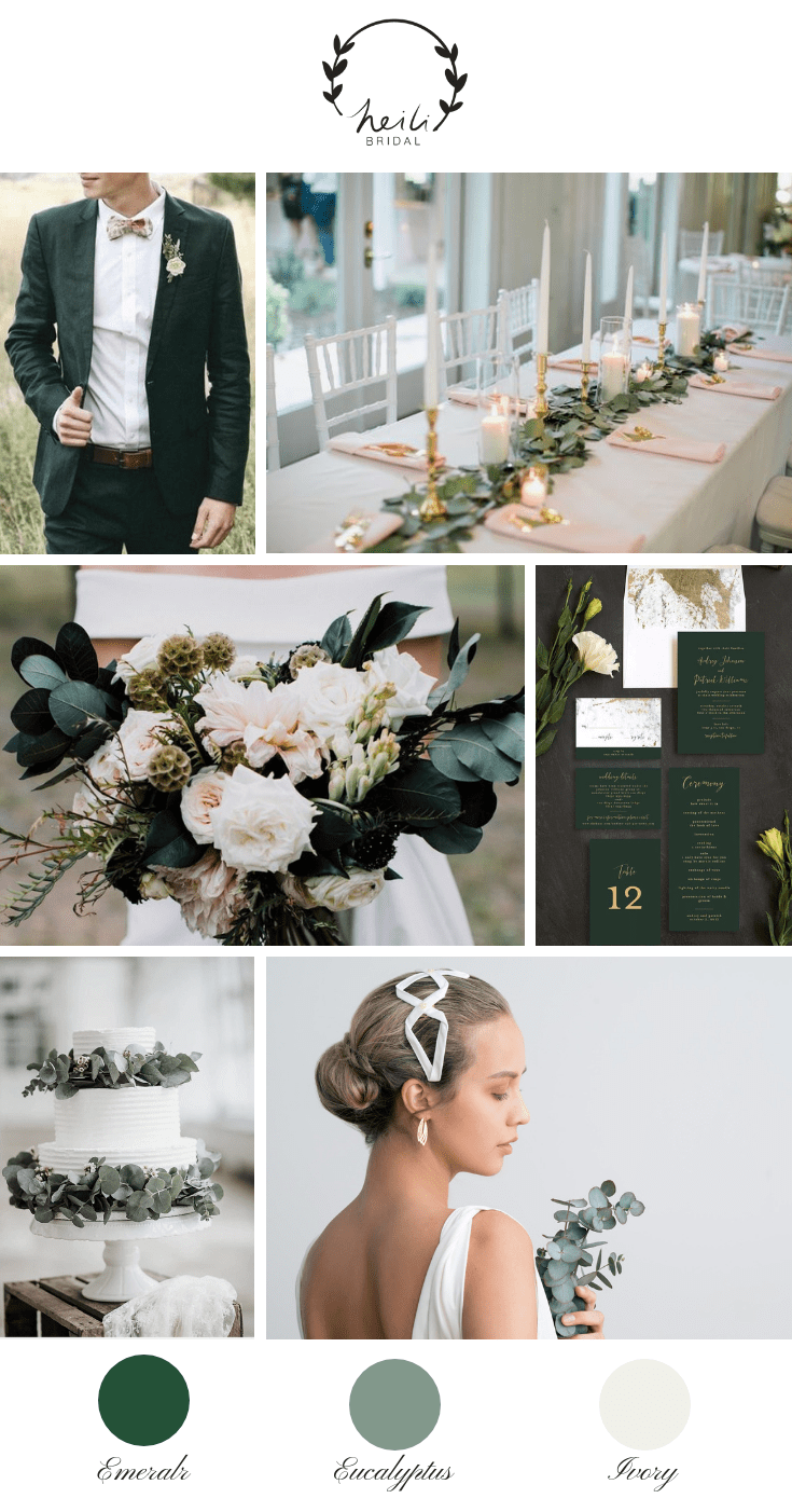 Eucalyptus and Emerald Wedding Inspiration | Heili Bridal