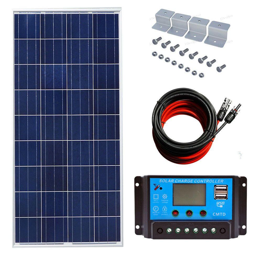 100w Solar Panel Kit W 20a Lcd Solar Controller Charge 12v Off Grid Home Power Solar Power Panels 12v Solar Panel Solar Energy Panels
