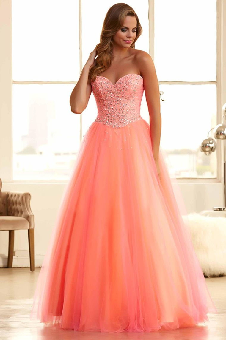 2015 Tulle Prom Gown Sweetheart A-Line Beaded Bodice Floor ...