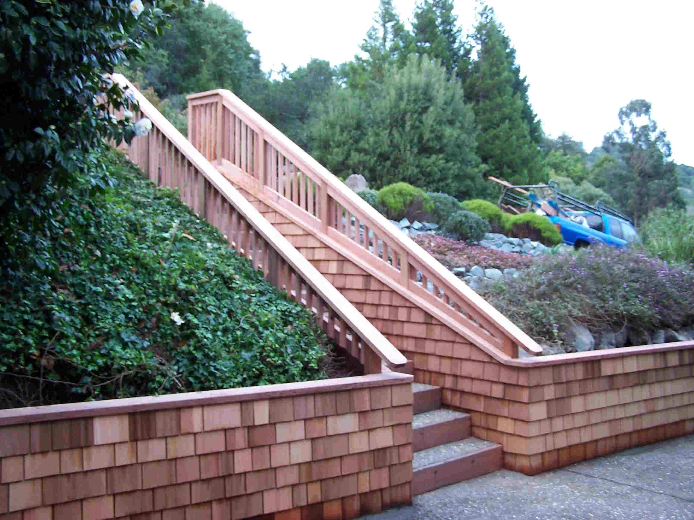 Shingle Retaining Wall W Stairs Garden Stairs Wood Retaining Wall Retaining Wall