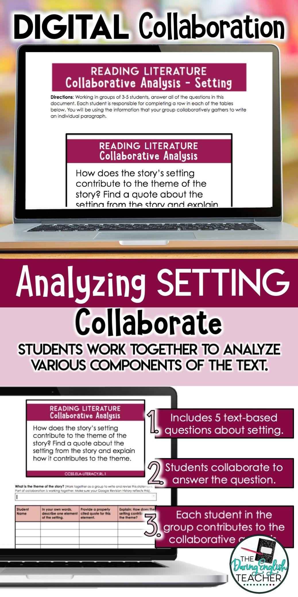 Analyzing Setting Digital Literary Analysis Collaboration Activity For Secondary Ela Language Arts Lesson Plans Digital Word Literary Analysis
