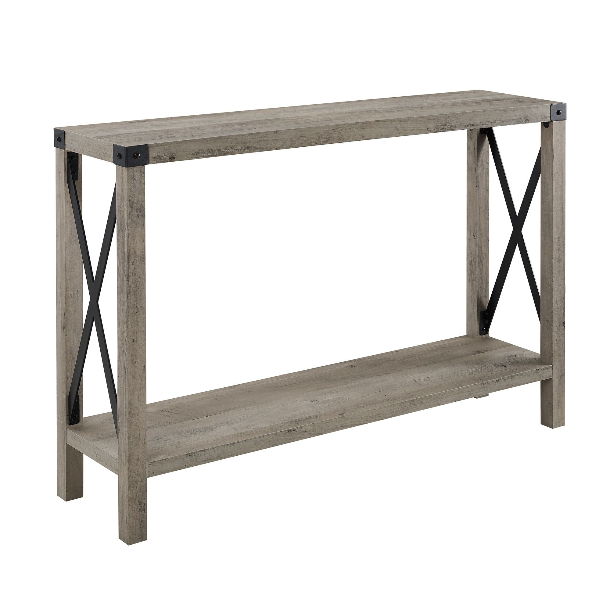 46 Urban Industrial Farmhouse Metal X Entry Table Gray Wash