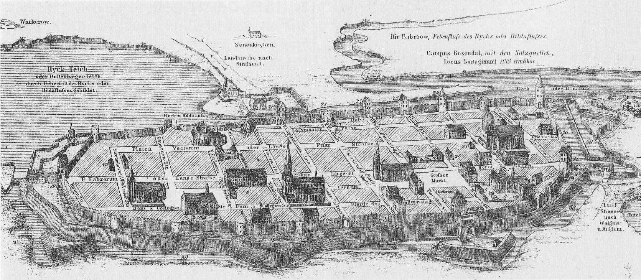 Best Greifswald im Mittelalter Rekonstruktion von Theodor Pyl nach historischen Texten und Grafiken