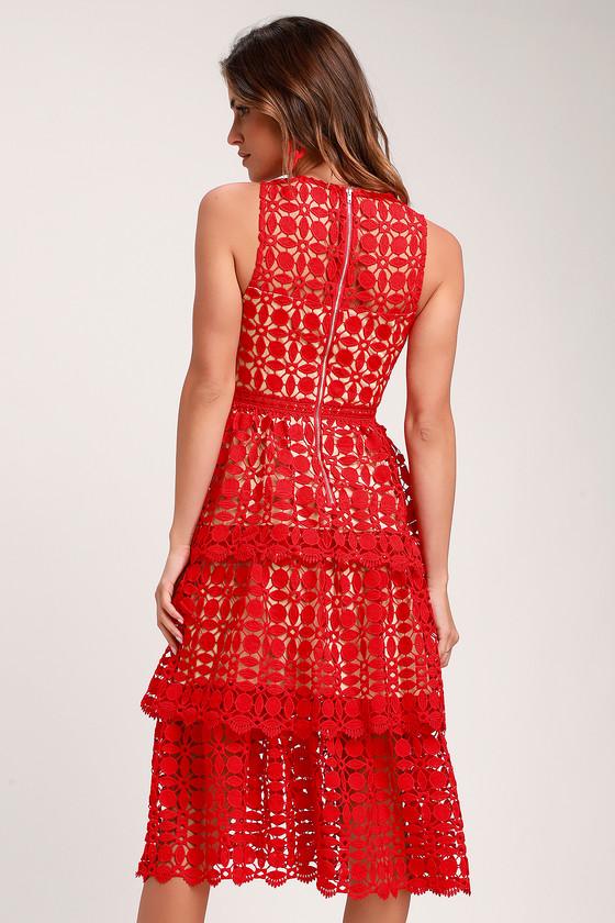 Larissa Red Crochet Lace Sleeveless Midi Dress Midi Dress Sleeveless Red Bodycon Mini Dress Lace Shift Dress