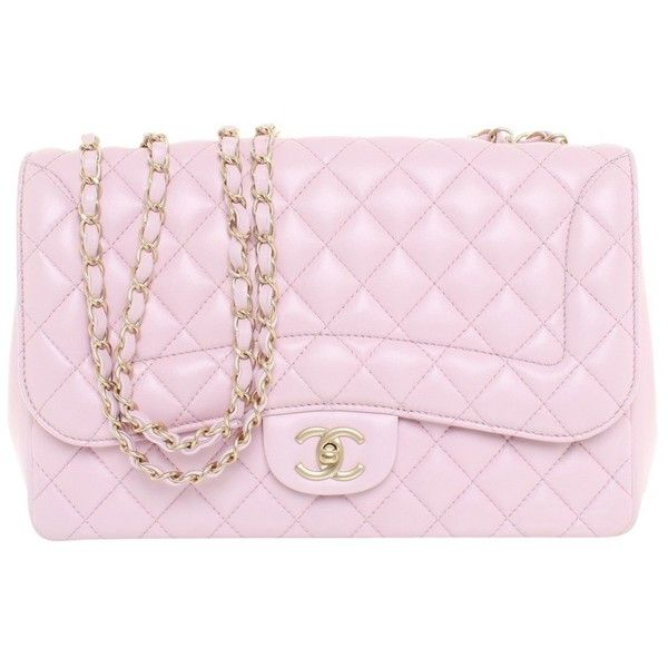 """Pre-owned """"""""Classic Flap Bag Medium"""""""" in Rosé (11.755 BRL) ❤ liked on Polyvore featuring bags, handbags, pink, genuine leather purse, leather handbags, pre owned handbag, real leather purses and pink leather handbags"""