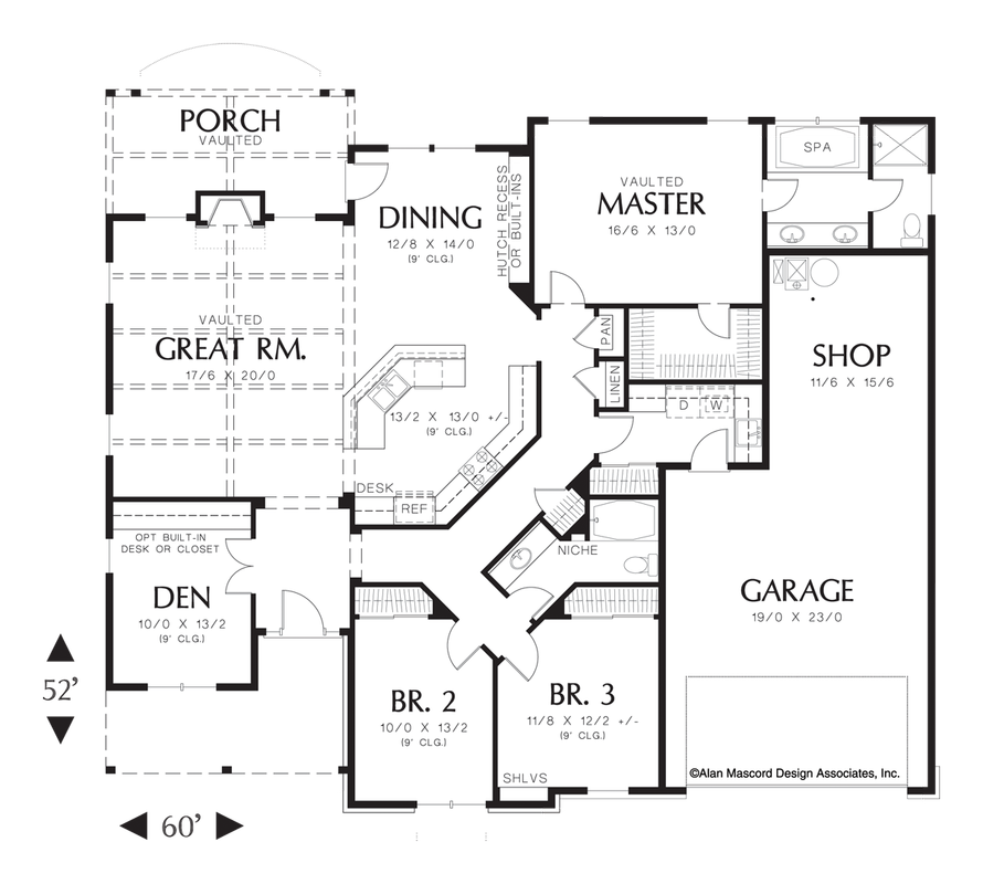 Mascord House Plan 1231a The Blackburn Single Story House Floor Plans House Floor Plans Floor Plans