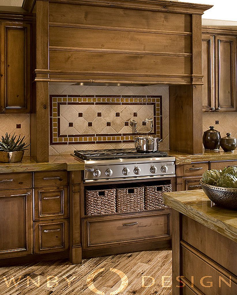 Kitchen Art The Range: Example Of Range Hood Stained Same Color As Cabinetry