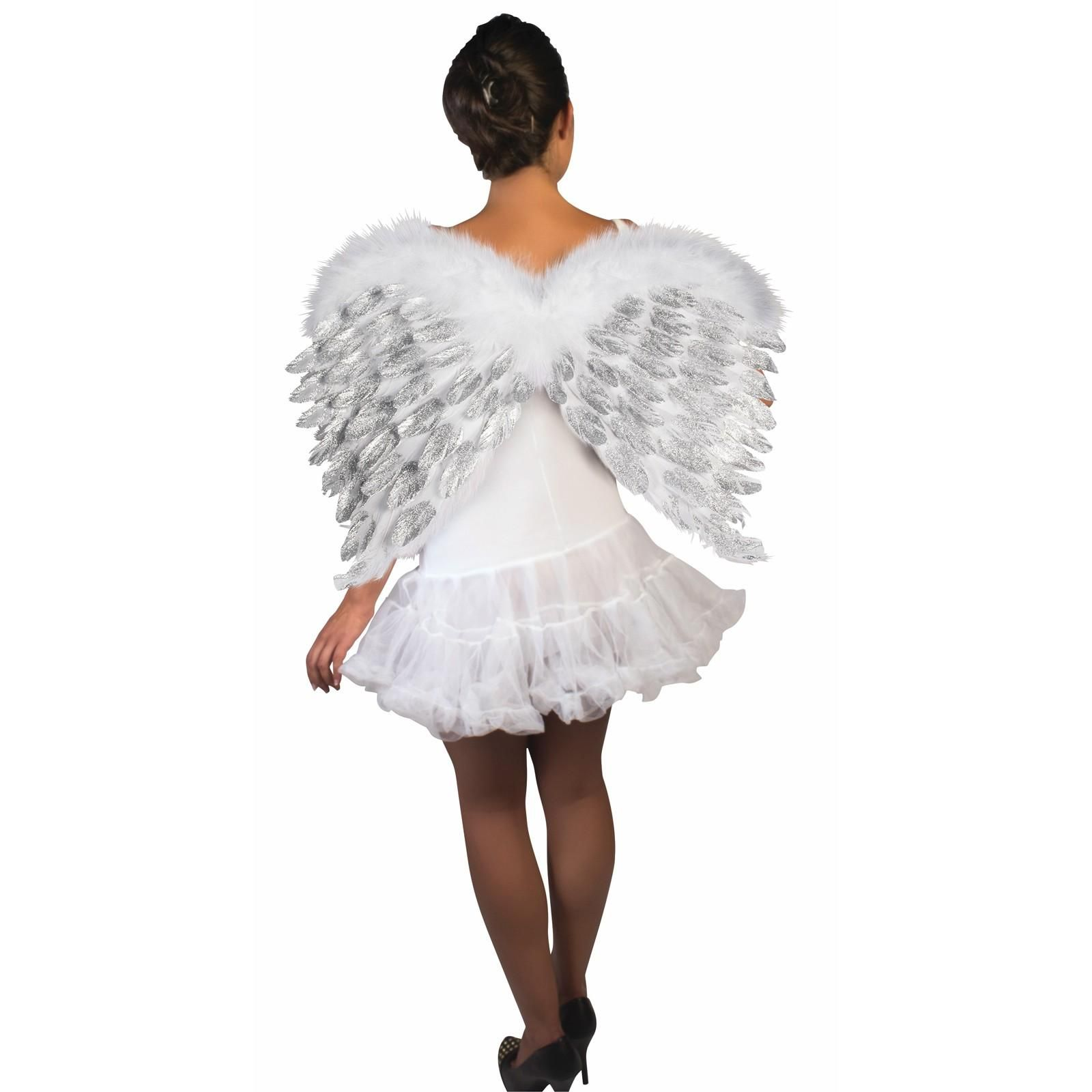 Glitter White Feather Angel Wings | BuyCostumes.com ...