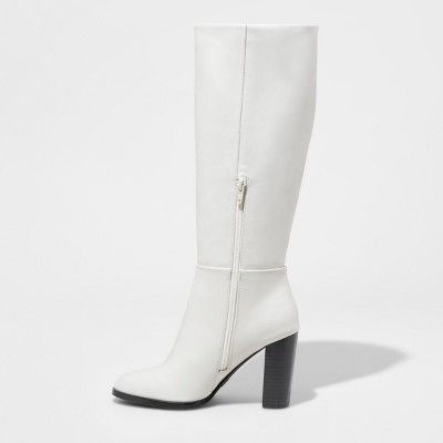 8ae16ae2ef2ea Women s Lenna Wide Width Stovepipe Boots - A New Day White 6.5W ...