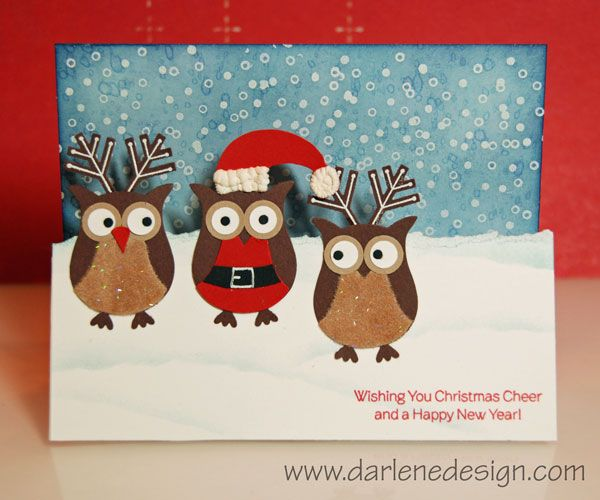 Owl Santa And Reindeer With Video Cards Pinterest