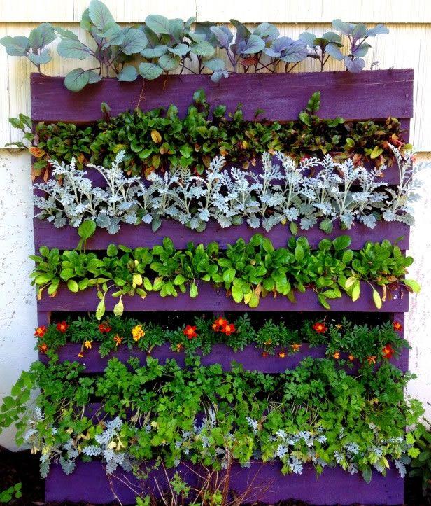 Ideas para reutilizar palets en el jard n reutilizar for Jardin vertical reciclado