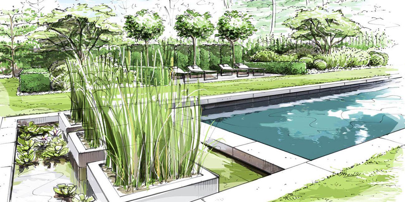 Jardin bruxelles belgique loup co hand graphics for Croquis jardin paysager