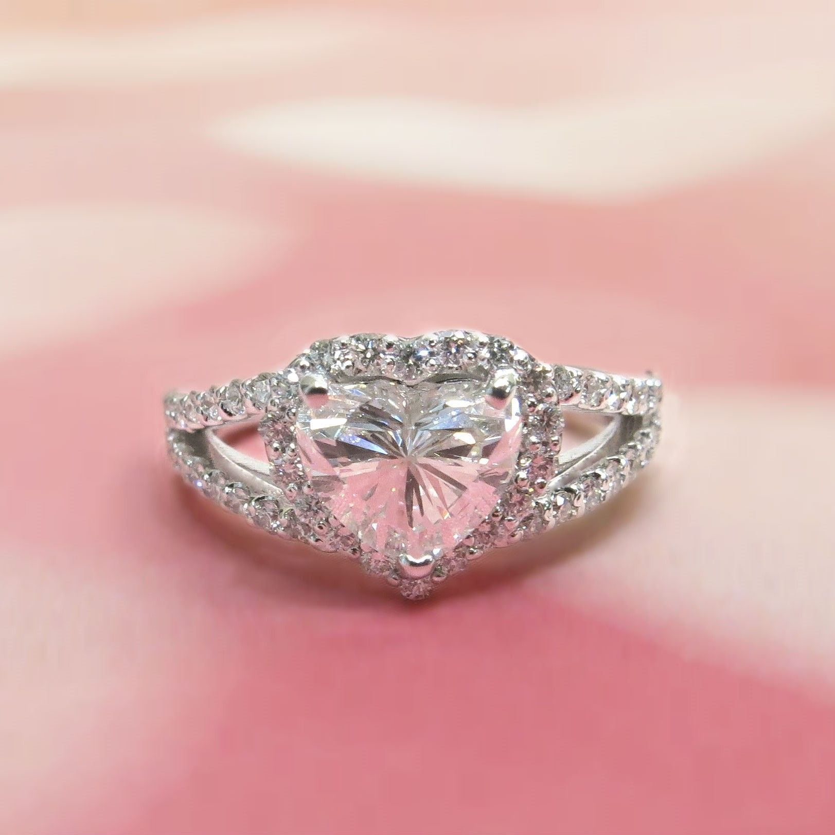 Custom Diamond Heart Halo and Split Shank Ring | Jewelry, purses and ...