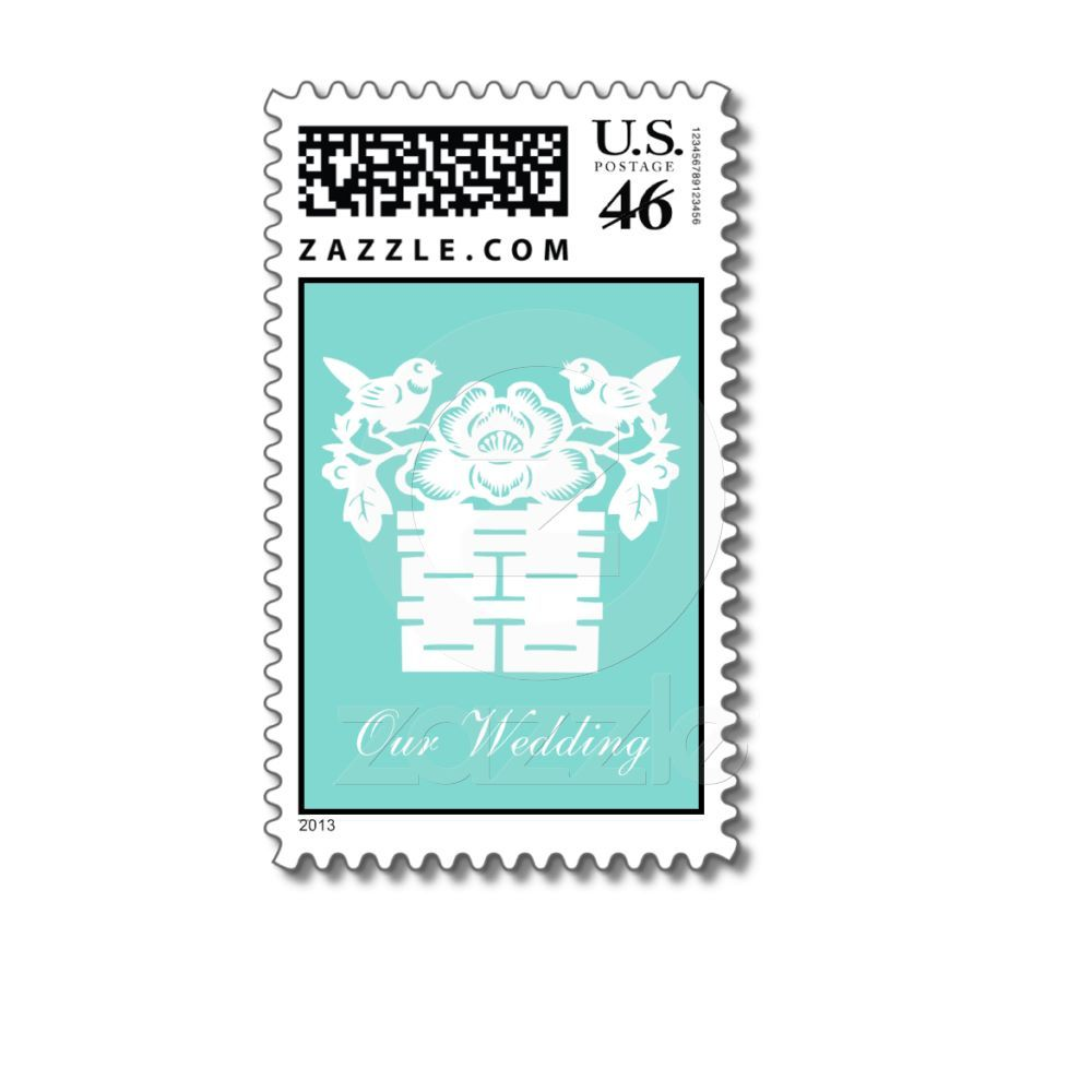 Elegant Teal Blue Double Happiness Our Wedding Stamps From Zazzle