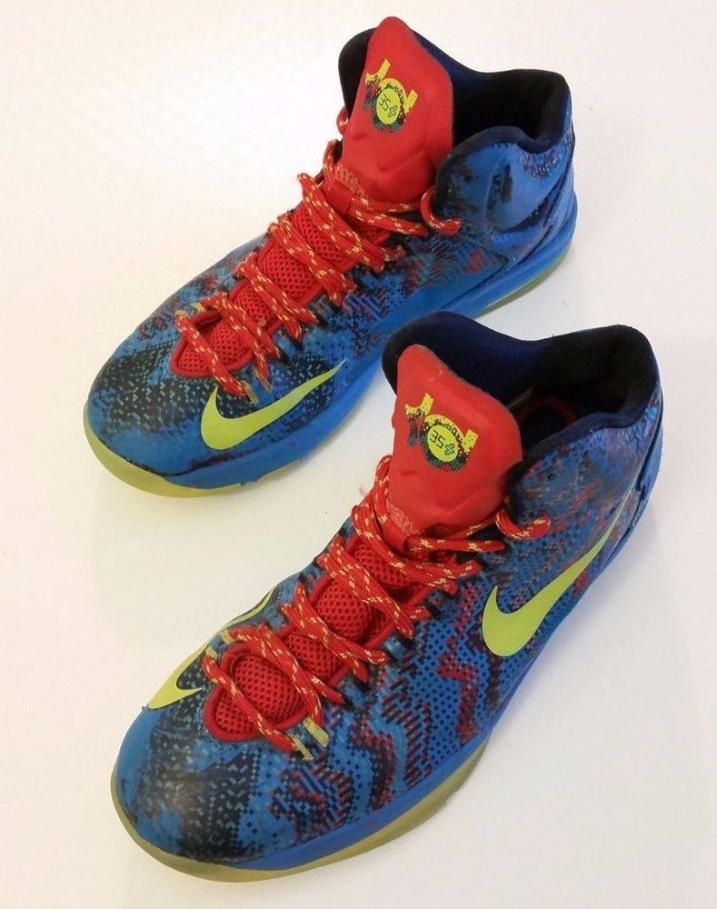 a04bdc1d3251 Nike Zoom KD 6Y Kevin Durant Christmas Youth Basketball Shoes Blue Green  Limitd  Nike