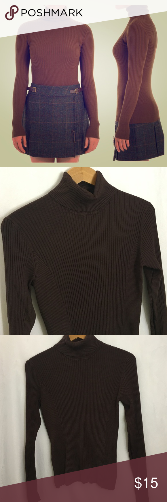 Dark Brown Fitted Ribbed Turtleneck Knit Sweater | Dark brown ...