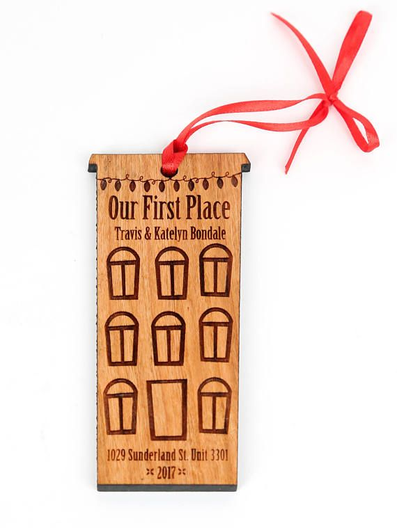 Cute Little Apartment Building With Christmas Lights Names And Address Celebrate Your First Place This Personalized Ornament