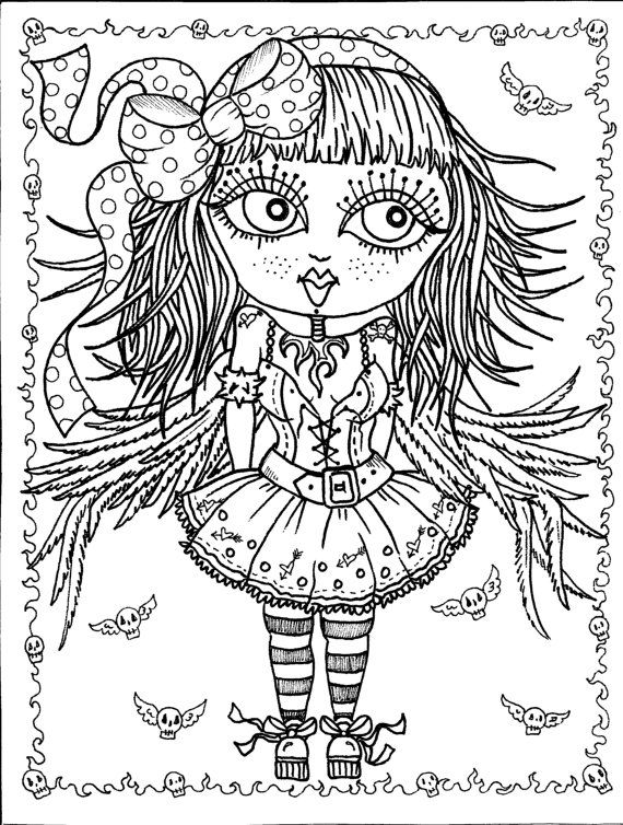 Instant Download 5 pages Gothic Angels Art Digital Coloring Book ...