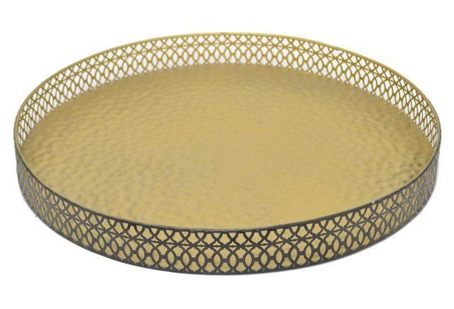 """18"""" Hammered Metal Tray, Gold"""