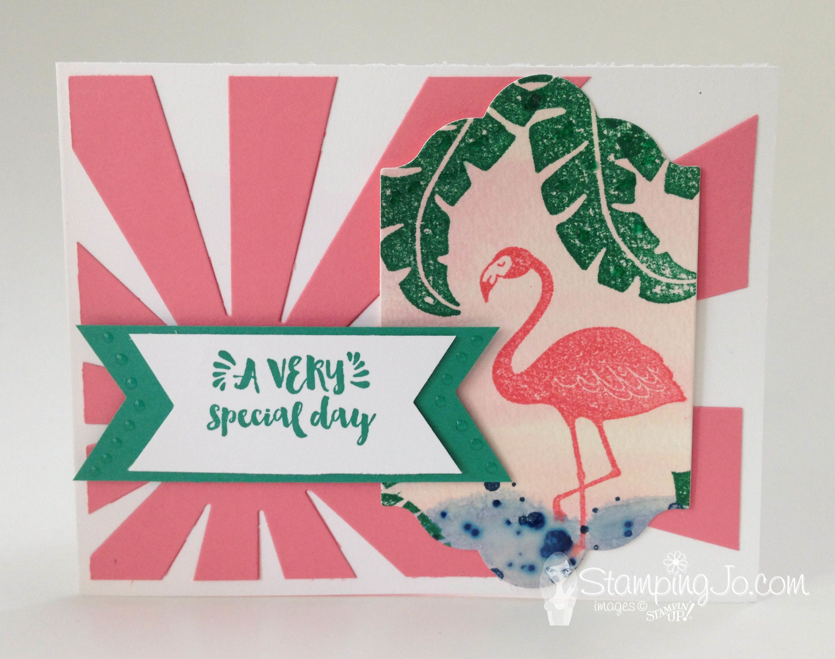 Pop of Paradise stamp set, Stampin Up, 2016-2017 Annual Catalogue, pink flamingo, hand stamped birthday card