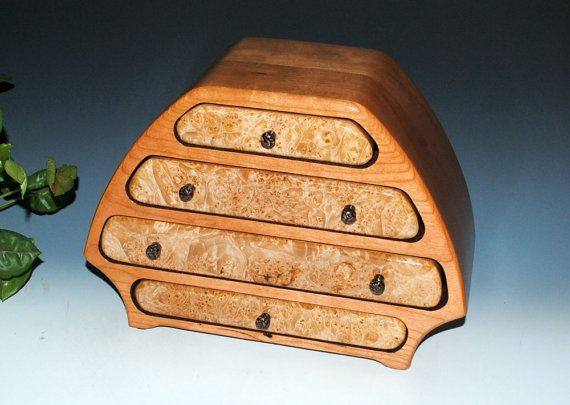 Wood Jewelry Box Bernie Style  Maple Burl on Cherry