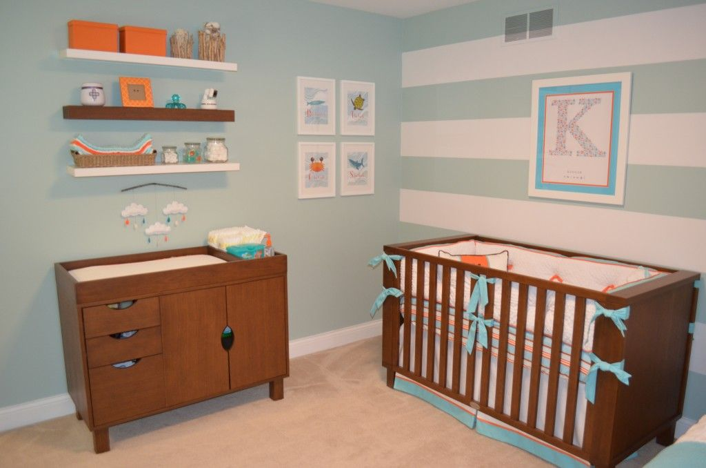 Aqua And Orange Beach Inspired Nursery Project