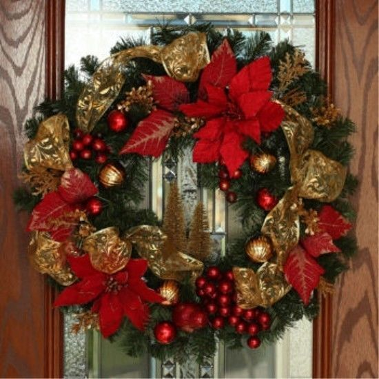 Shatter proof christmas holiday poinsettias wreath - Corona navidad puerta ...