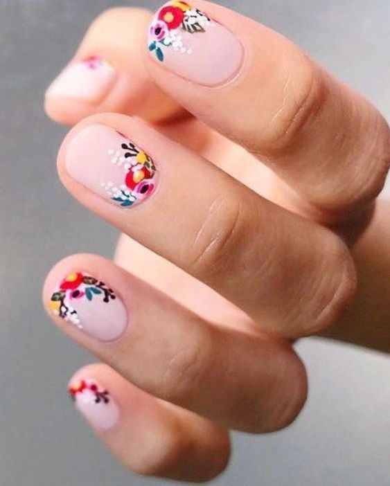 bright floral nail design