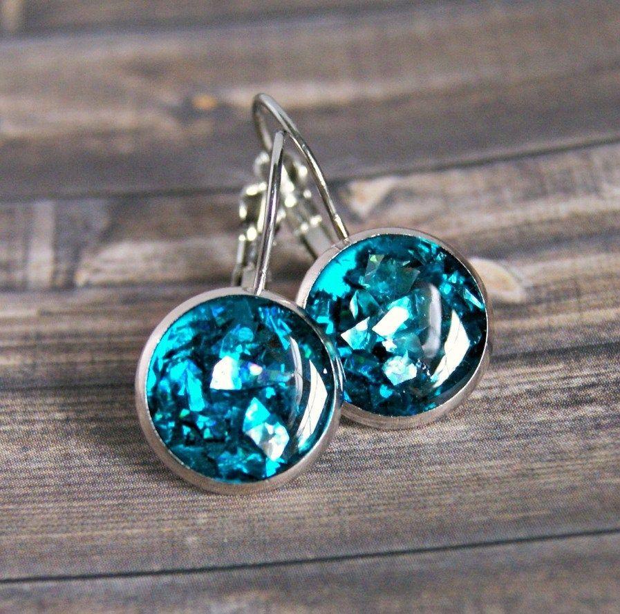 Drop earrings resin jewelry glitter earrings gift for