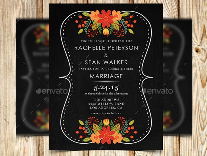 ElegantChalkboardFloralWeddingInvitation  Flyer Templates
