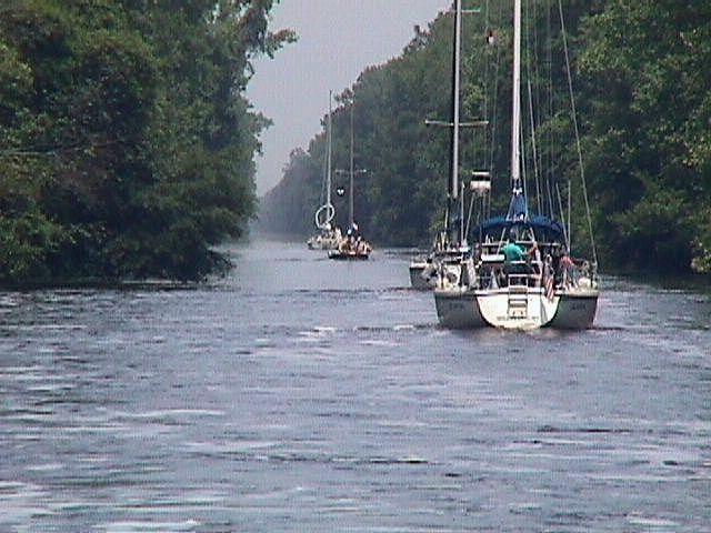 Sailboats On The Intercoastal Waterway Dismal Swamp Stretch Near