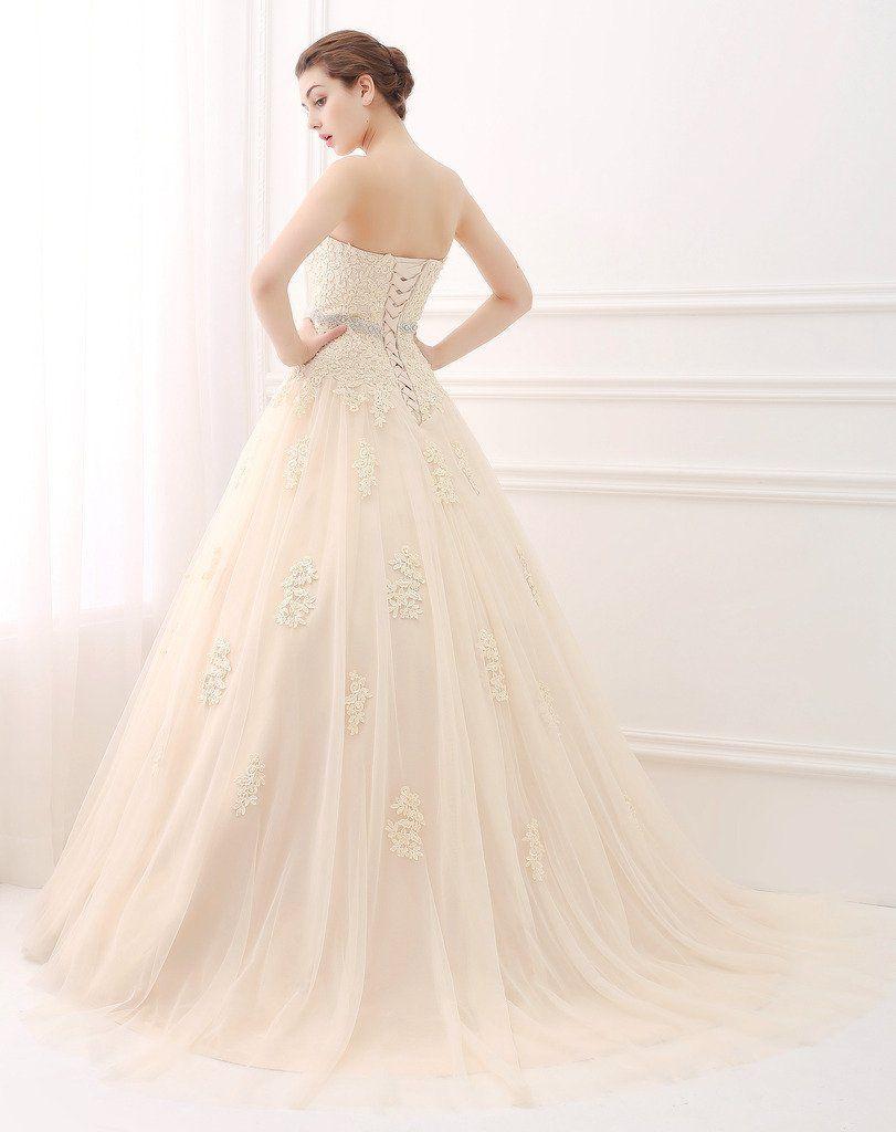 Sweetheart strapless wedding dress  ScelleBridal Sweetheart Strapless Aline Lace Appliques Wedding