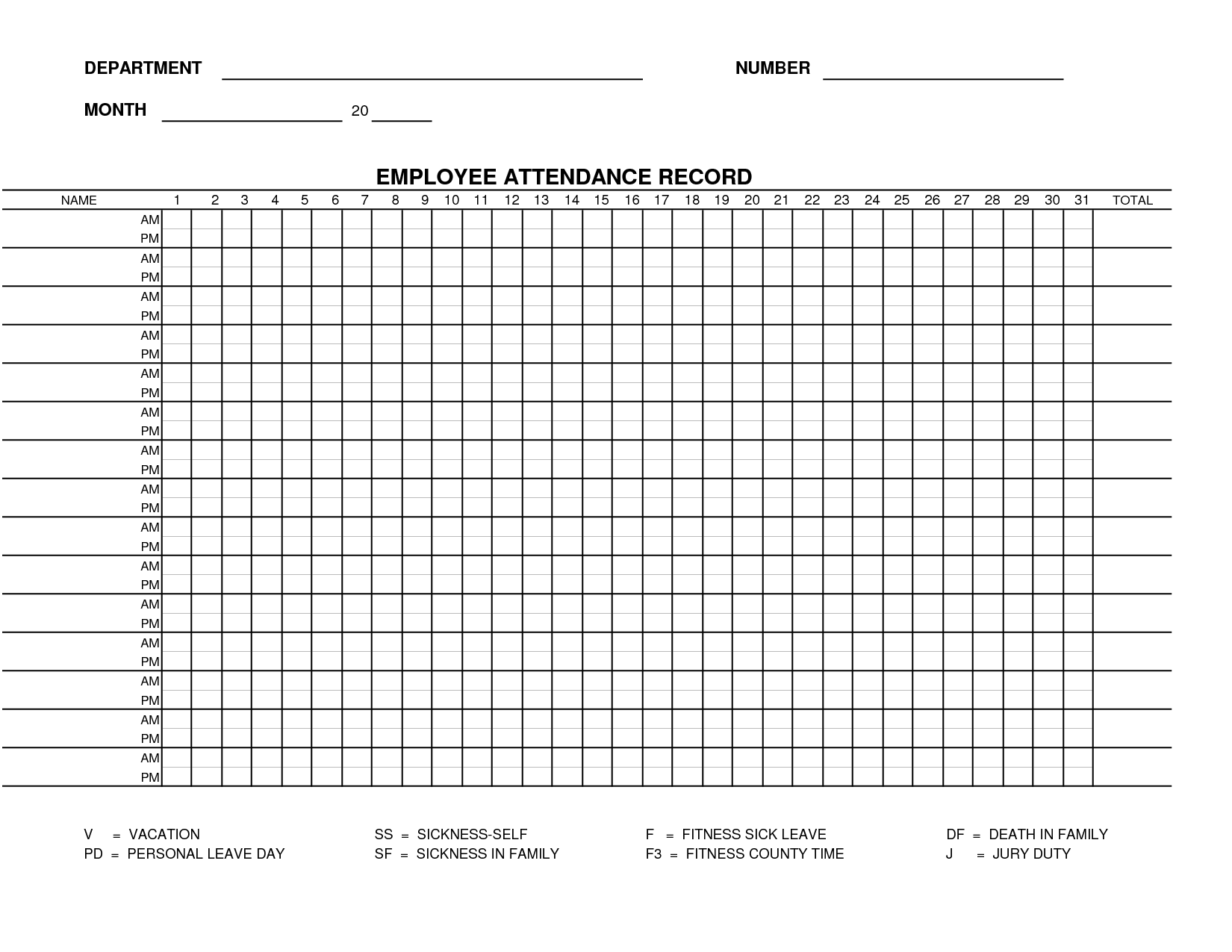 Printable Employee Attendance Sheet Template