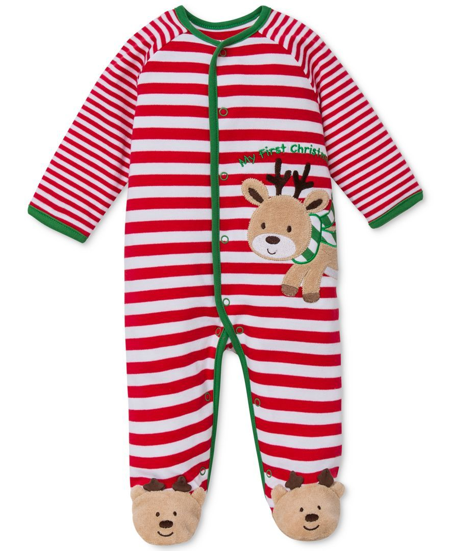 5a8c4138b7 Little Me Baby Boys  or Baby Girls  One-Piece Footed Reindeer Stripe Pajamas