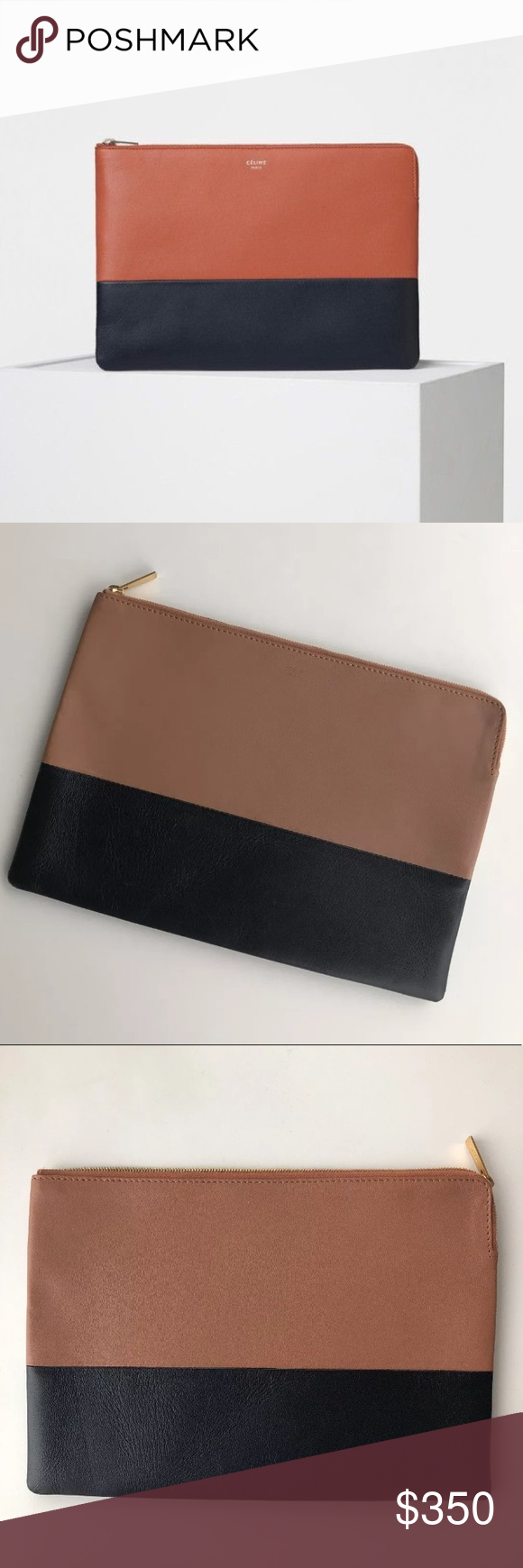 ccbd23ef83 Auth New Celine Bi-color Solo Clutch Pouch Leather New without tags and  authentic CELINE Lambskin Bicolor Solo Clutch Pouch Black and Brown.